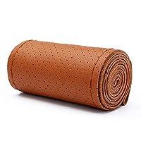 Nicexiongdei 手縫いステアリングホイールカバー、革の車のハンドルカバーフルホールトラックの乗用車専用、アンチスリップ (色 : ブラウン, サイズ : 45cm)
