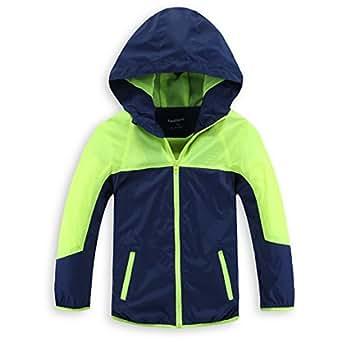 Hiheart ジャケット キッズ ウインドブレーカー ジャンパー 子供服 薄手 通気 撥水加工 子ども グリーン 150