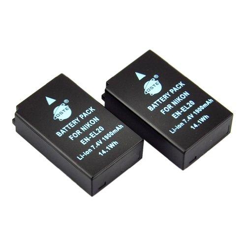 DSTE® アクセサリ Nikon EN-EL20 EN-EL20A 互換 カメラ バッテリー 2個 対応機種 Coolpix A 1 J1 J2 J3 AW1 S1 V3