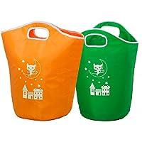 アストロ ランドリーバッグ グリーン&オレンジ 2個セット かわいい子ネコ柄 洗濯物の一時おき?持ち運びに便利です? 610-39