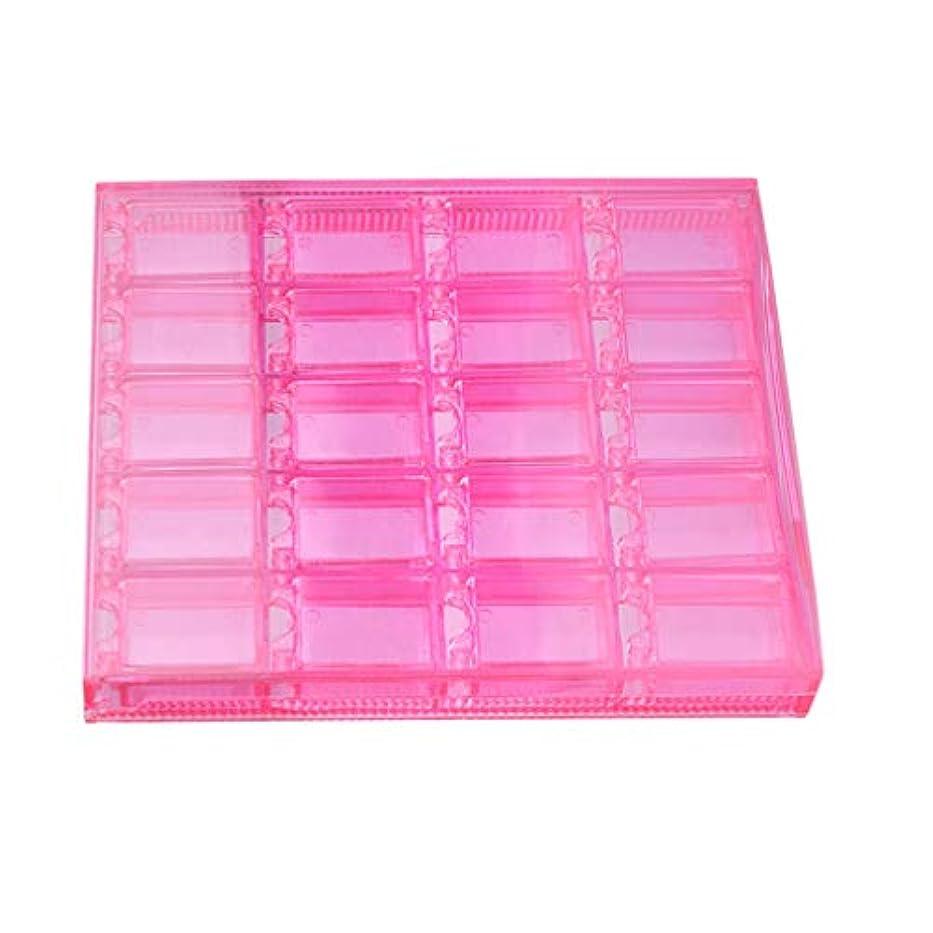 原子放散する主人20-グリッドプラスチッククラフトオーガナイザーケースネイルジュエリー収納ボックス調整可能収納ボックス用ミシンビーズネイルアートラインストーンダイヤモンド - ピンク