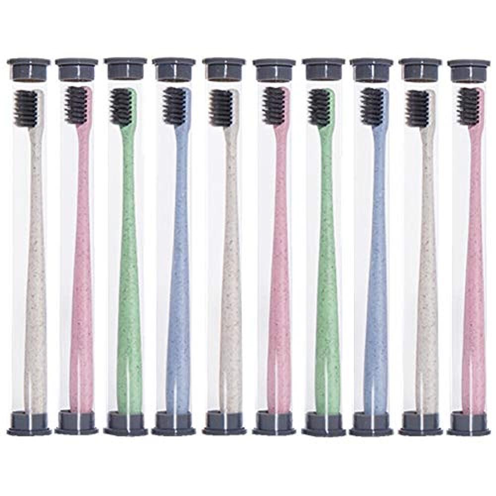 おなじみの怖い繁雑歯ブラシ 麦わら歯ブラシ、旅行携帯用歯ブラシ、ミディアムブラシヘッドソフト歯ブラシ - 10パック HL (色 : 10 packs)