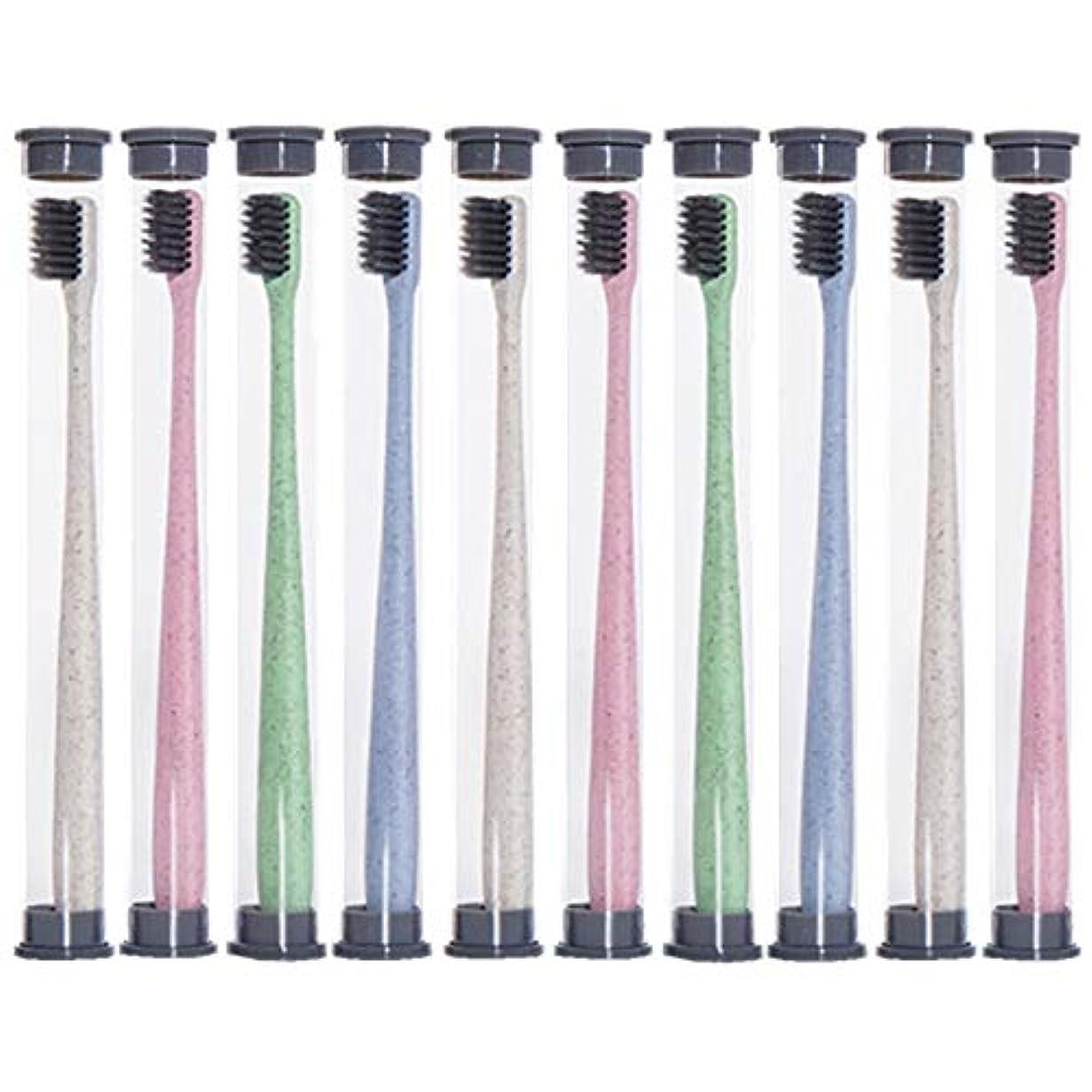 フォーマット威する置換歯ブラシ 麦わら歯ブラシ、旅行携帯用歯ブラシ、ミディアムブラシヘッドソフト歯ブラシ - 10パック KHL (色 : 10 packs)
