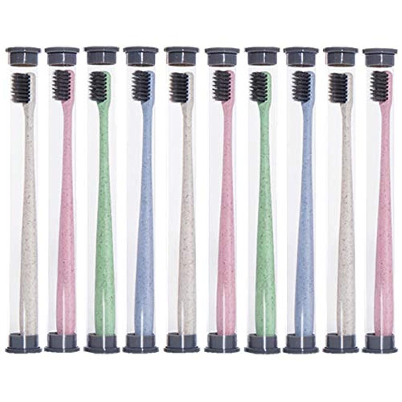 乳白に対処する限定歯ブラシ 麦わら歯ブラシ、旅行携帯用歯ブラシ、ミディアムブラシヘッドソフト歯ブラシ - 10パック HL (色 : 10 packs)