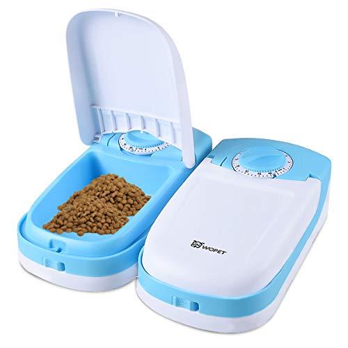 ペット給餌器 タイマー給餌器猫用自動給餌器 タイマーは最大48時間餌対応できかわいい オシャレ自動給餌器ペットおるすばんフィーダー2食分 商品サイズ:26.5*23.5*7.5CM (水色)