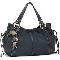 Catwalk Collection Handbags - Women's Soft Leather Top Handle/Slouchy Shoulder Bag - MIA