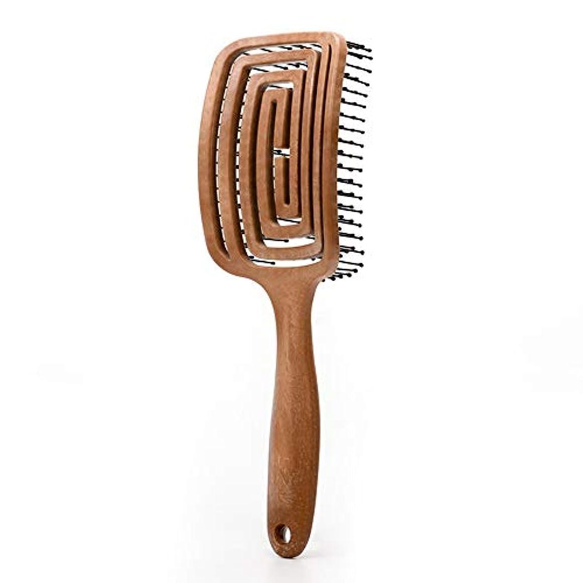 ハブブゴミ箱を空にする独立したTWOBEE 毛ブラシ木材櫛エアバッグエアクッションマッサージコーム背面板中空弾性櫛歯毛マッサージ櫛