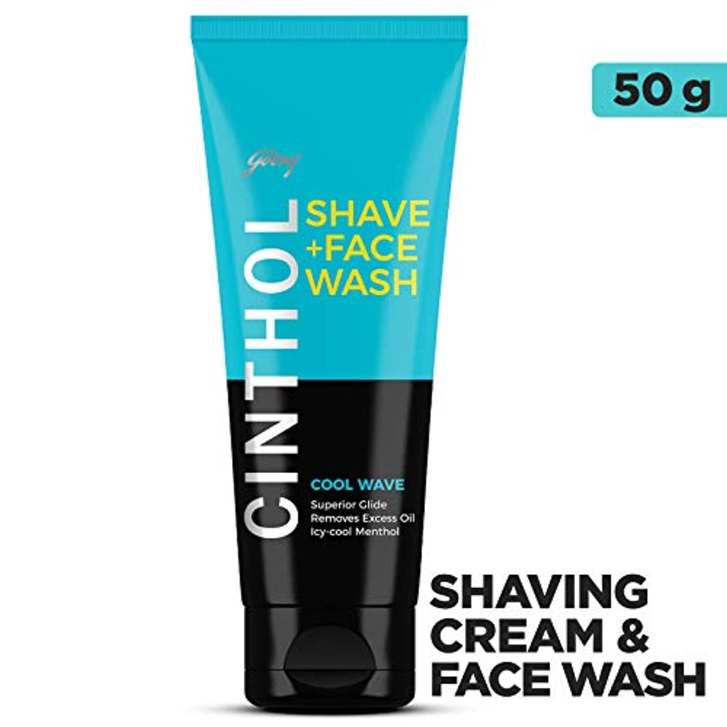 Cinthol Shaving + Face Wash, Cool Wave, 50g
