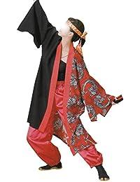 【よさこい衣装?袢纏?法被】おどり袢天 黒/赤 龍 B8537