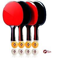 Toughito Ping Pong Paddle - Aero ブラック プロフェッショナル ピンポンパドル 4個セット 卓球ラケット 2mmプレミアムゴム&スポンジ付き 3つ星ピンポンボール クリーニングクロス&ポータブルキャリーケース レッド