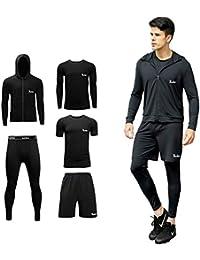 (シーヤ) Seeya コンプレッションウェア セット メンズ 長袖 半袖 冬 上下 5点セット 6カラー スポーツウェア トレーニング ランニング 吸汗 速乾