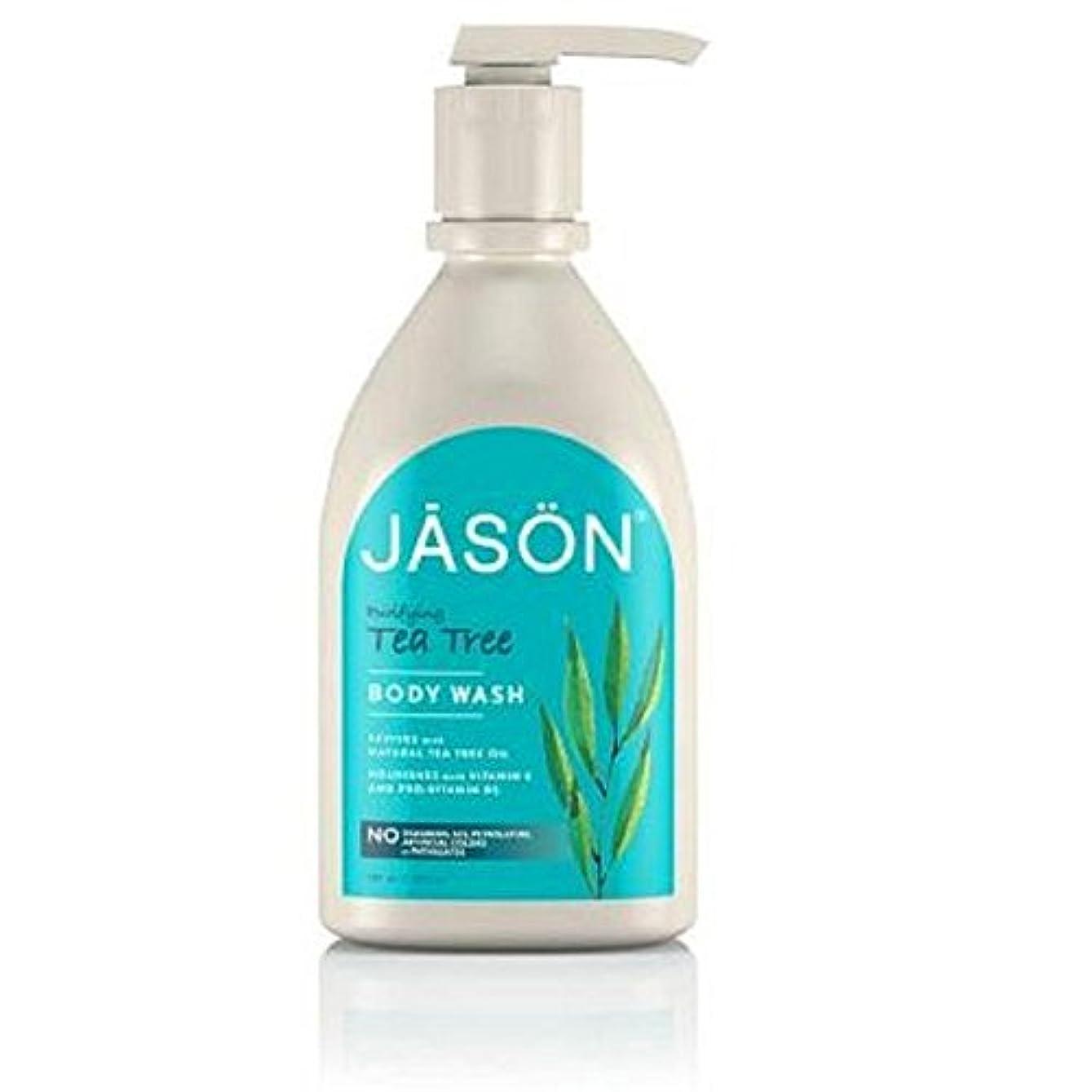 母音急襲トレッドジェイソン?ティーツリーサテンボディウォッシュポンプ900ミリリットル x4 - Jason Tea Tree Satin Body Wash Pump 900ml (Pack of 4) [並行輸入品]