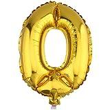 Yuelian(TM) アルミ 数字 バルーン 組み合わせ 自由 風船 飾りパーティグッズ ゴールド (80cm, 0)