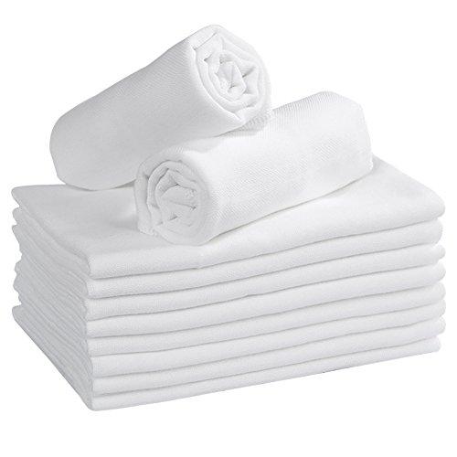 ガーゼタオル 赤ちゃん 綿100% ベビー用タオル 綿紗タオル 肌に優しいフェースタオル 無地 白 35x50cm 10枚組 YOOFOSS(ユーフス)