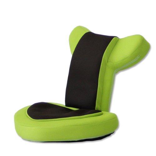 タンスのゲン 座椅子 ゲーム座椅子 低反発 リクライニング メッシュ 肘掛け バディー リーフグリーン 16210002 GD