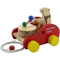 hsomid木製玩具Poko Poko BearドラムBeating車のベビー幼児キッズ