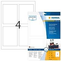 HERMA 8882 90x120mm Inkjet Paper Rectangular Bottle Labels - Glossy White (40 Labels, 4 per Sheet)