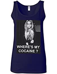 Where is My Cocaine Night Out Novelty Navy Women Vest Tank Top-XXL