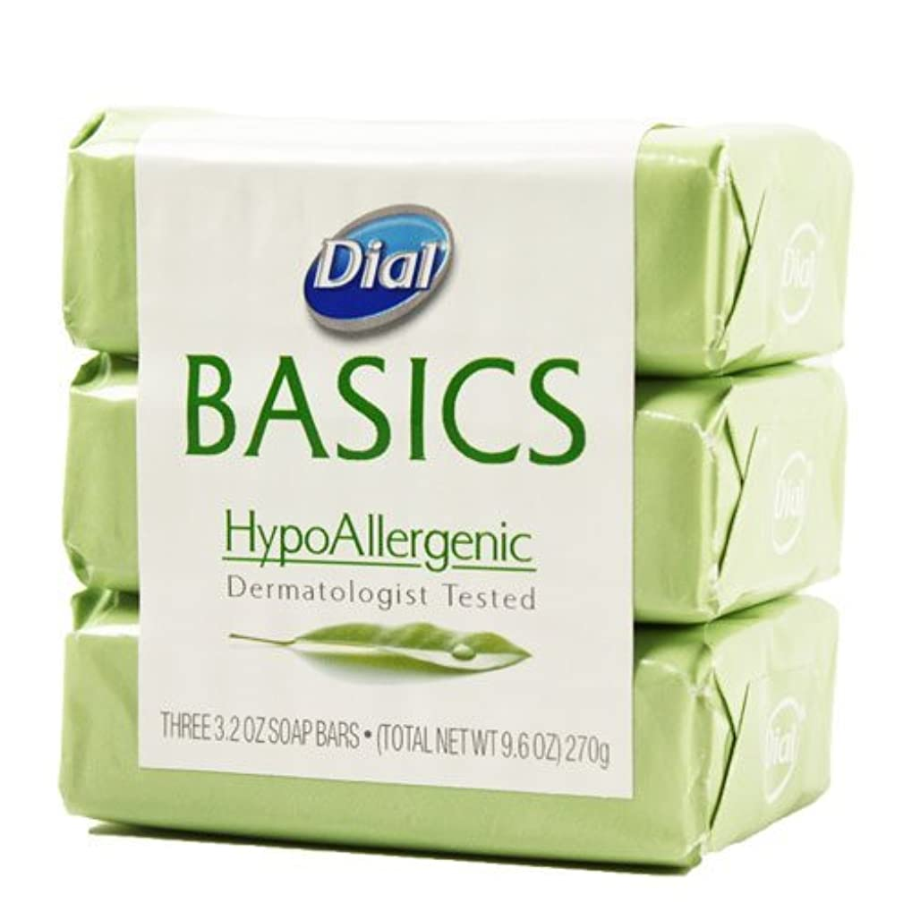 酒プラスチック勤勉Dial Basics HypoAllergenic Dermatologist Tested Bar Soap, 3.2 oz (18 Bars) by Basics