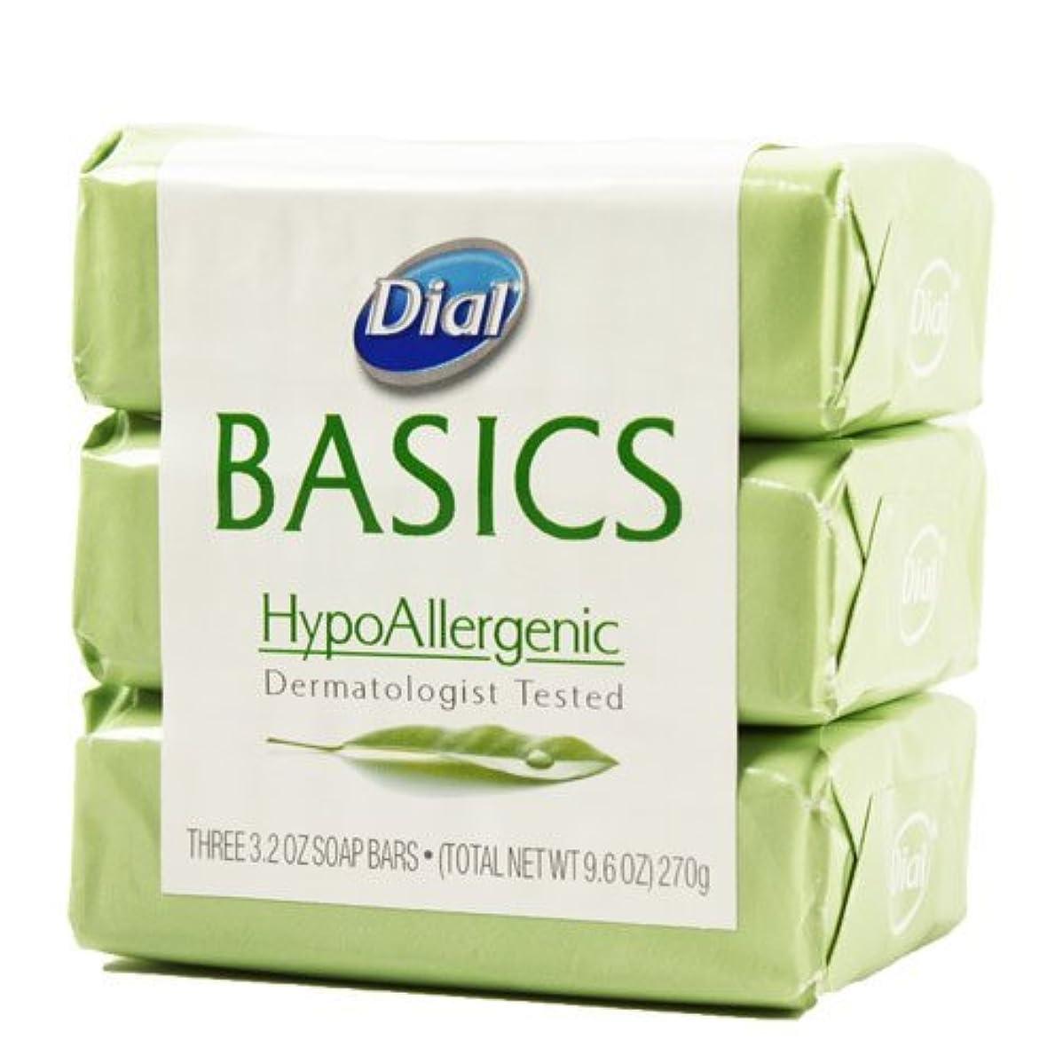 一貫した苦い乱暴なDial Basics HypoAllergenic Dermatologist Tested Bar Soap, 3.2 oz (18 Bars) by Basics