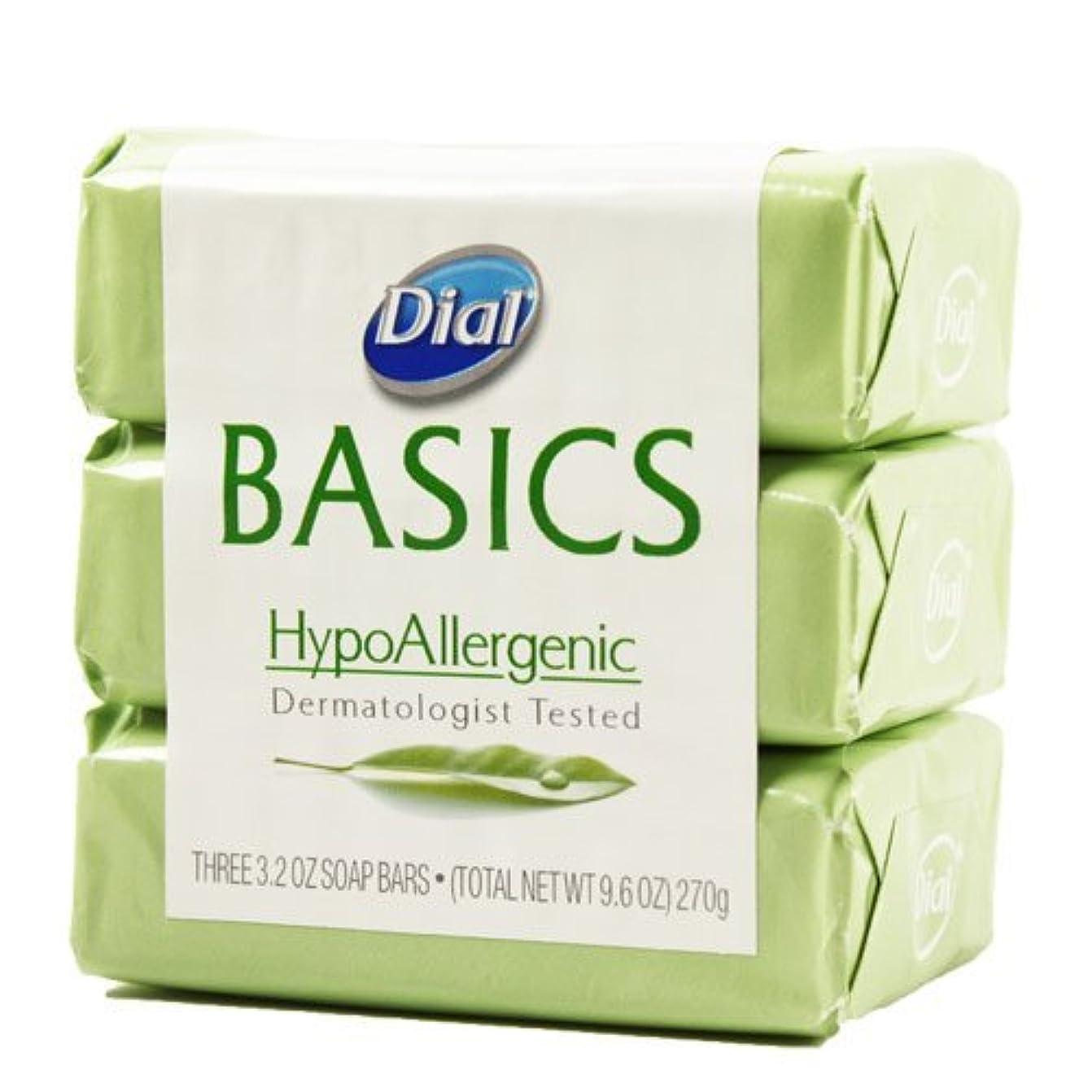 バンケット高い苦悩Dial Basics HypoAllergenic Dermatologist Tested Bar Soap, 3.2 oz (18 Bars) by Basics