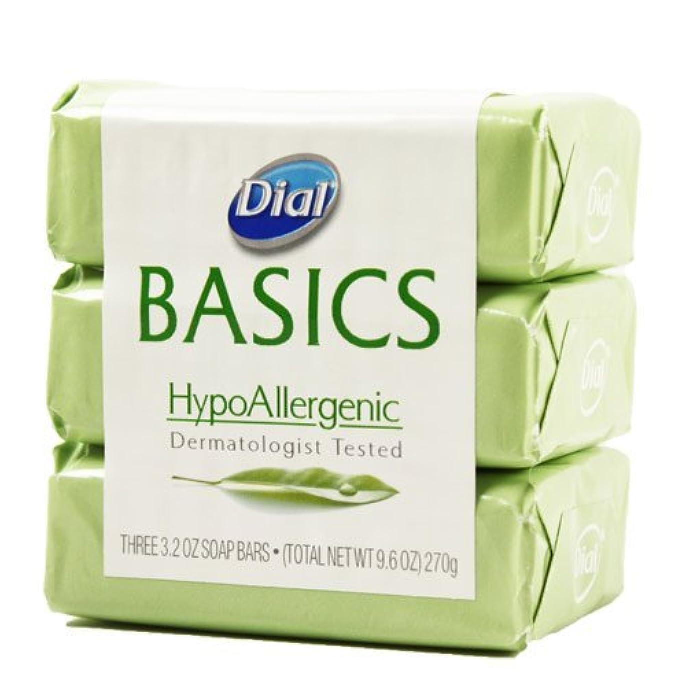 くぼみ人口あいまいDial Basics HypoAllergenic Dermatologist Tested Bar Soap, 3.2 oz (18 Bars) by Basics