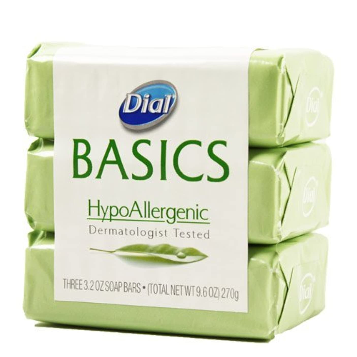鎮静剤ディスパッチ黒くするDial Basics HypoAllergenic Dermatologist Tested Bar Soap, 3.2 oz (18 Bars) by Basics
