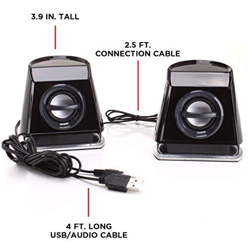 『GOgroove BassPULSE 2MX 2.0 USB マルチメディアスピーカーシステム 赤色LED、デュアルドライバー、パッシブサブウーファー搭載 - PC, Apple MAC, Dell などのコンピューターに対応』の5枚目の画像