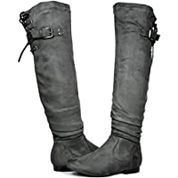 DREAM PAIRS Women's Colby Over The Knee Pull On Boots (Wide-Calf)
