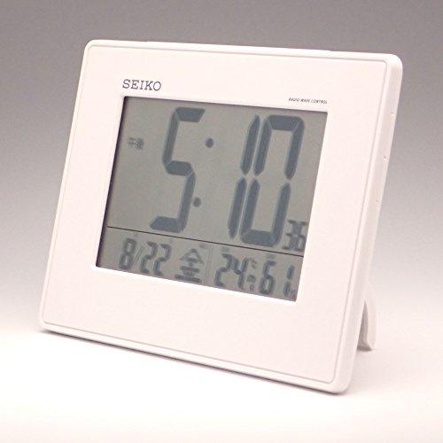 大型画面 クロック 表示 白 セイコー 目覚まし時計 カレンダー 電波 SQ770W SEIKO 湿度 温度 デジタル パール 掛置兼用