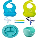 Baby Feeding Set,Silicone 2 Waterproof Bibs 1 Plate 1 Bowl 2 Spoons 2 Forks and 2 Pacifier Clips for Baby or Toddler-Spend Less Time Cleaning and Easily to Use(10 PCS).