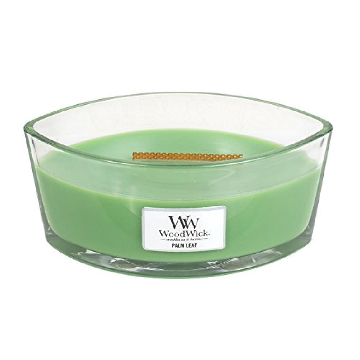 批評ビジョン変数Woodwick Palm Leaf , Highly Scented Candle、楕円ガラスJar with元HearthWick Flame , Large 7-inch、16オンス