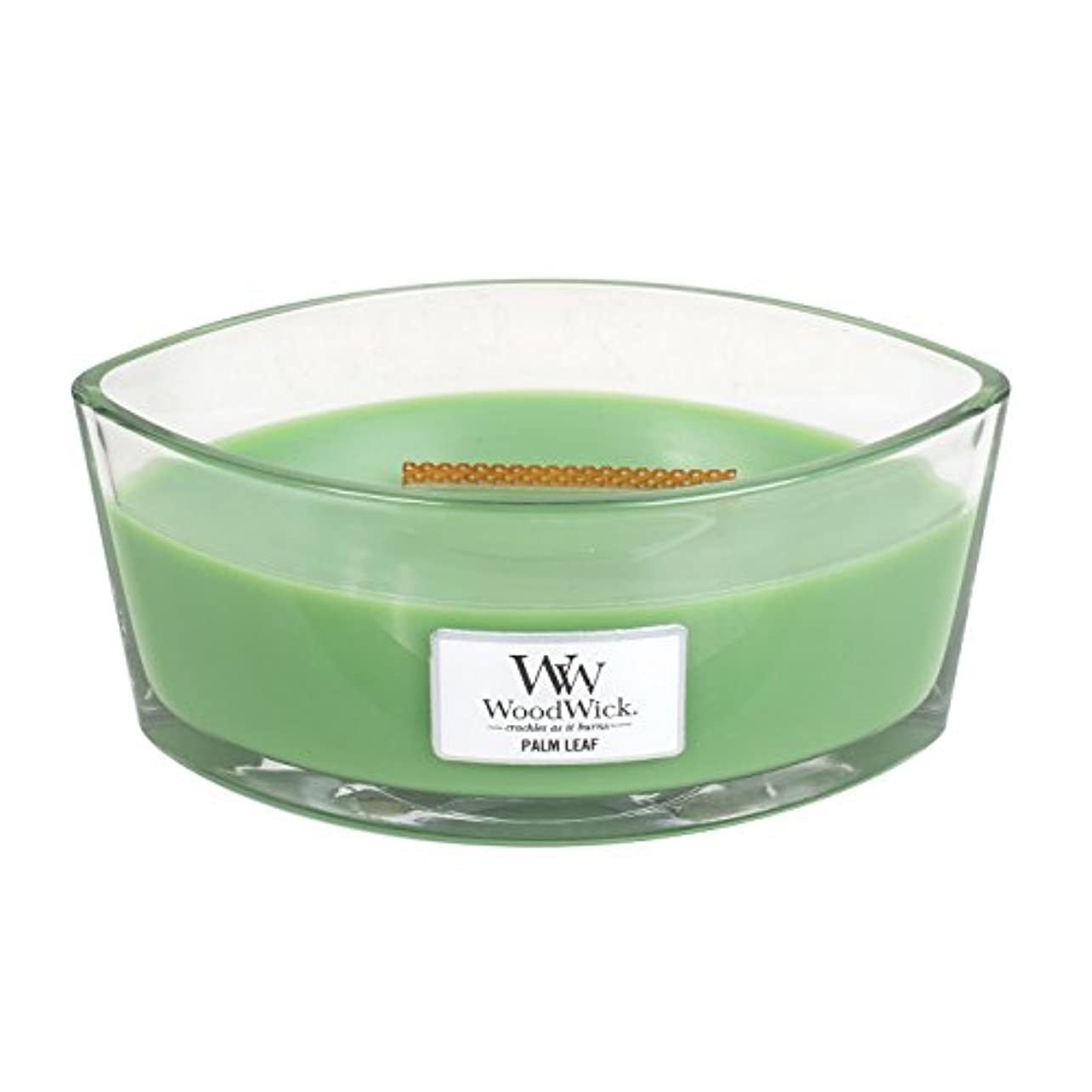 Woodwick Palm Leaf , Highly Scented Candle、楕円ガラスJar with元HearthWick Flame , Large 7-inch、16オンス