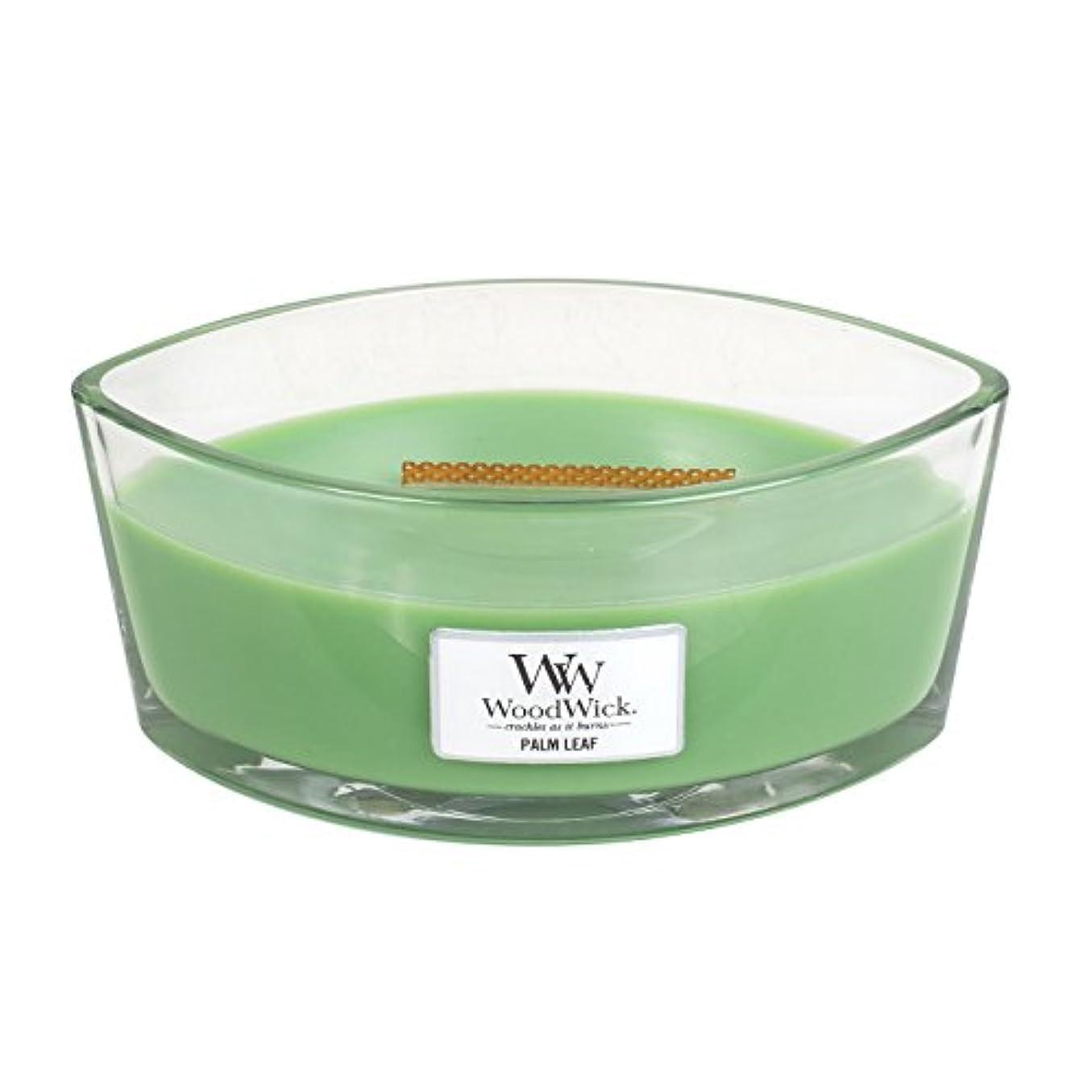 冗長付き添い人人柄Woodwick Palm Leaf , Highly Scented Candle、楕円ガラスJar with元HearthWick Flame , Large 7-inch、16オンス
