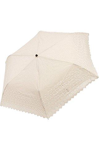 (ヌーヴェル・ジャポネ) Nouvel Japonais 日傘 折りたたみ傘 ミニ折りたたみ日傘 スカラップ エンブロイダリーレース 晴雨兼用 レイン レディース UV紫外線対策 遮光 軽量 パラソル (オフホワイトストライプ)