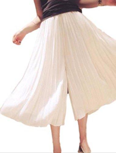 RE-AREA(リエリア) パラッツォ パンツ ギャザー スカート 風 プリーツ シフォン 七分丈 薄手 ウエスト ゴム レディース ( M )