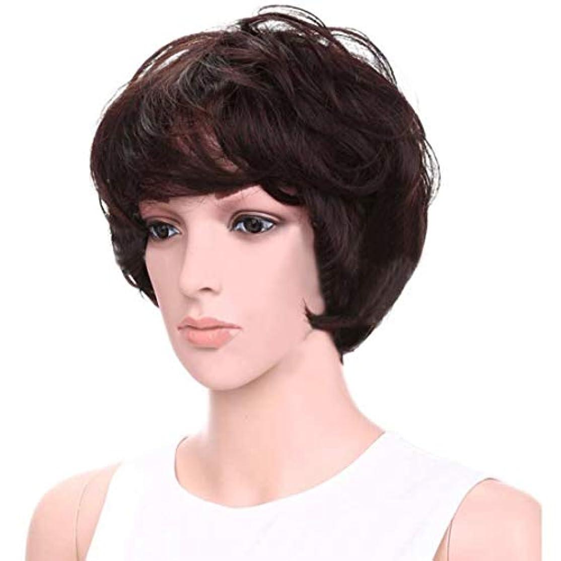 大洪水電報前進YOUQIU エア?フラッツ前髪髪の耐熱ウィッグでパーソナリティかつら女性のショートヘアウィッグふわふわ8インチ(ダークブラウン)かつら (色 : Dark brown)