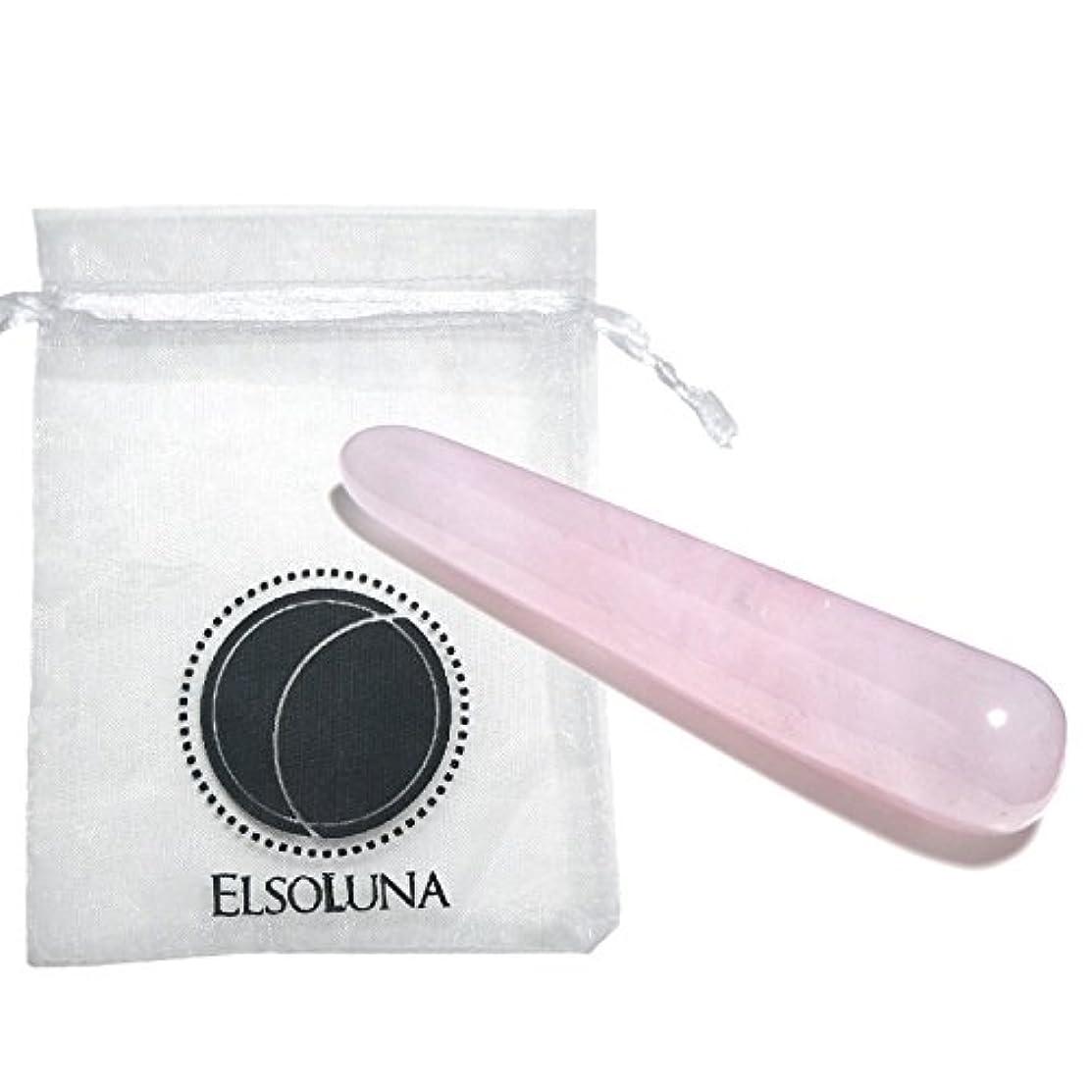 参照安全のホストElsoluna(エルソルーナ) かっさプレート かっさマッサージ 美顔 天然石 パワーストーン (アウトレット ローズクォーツ スティック型, ピンク)