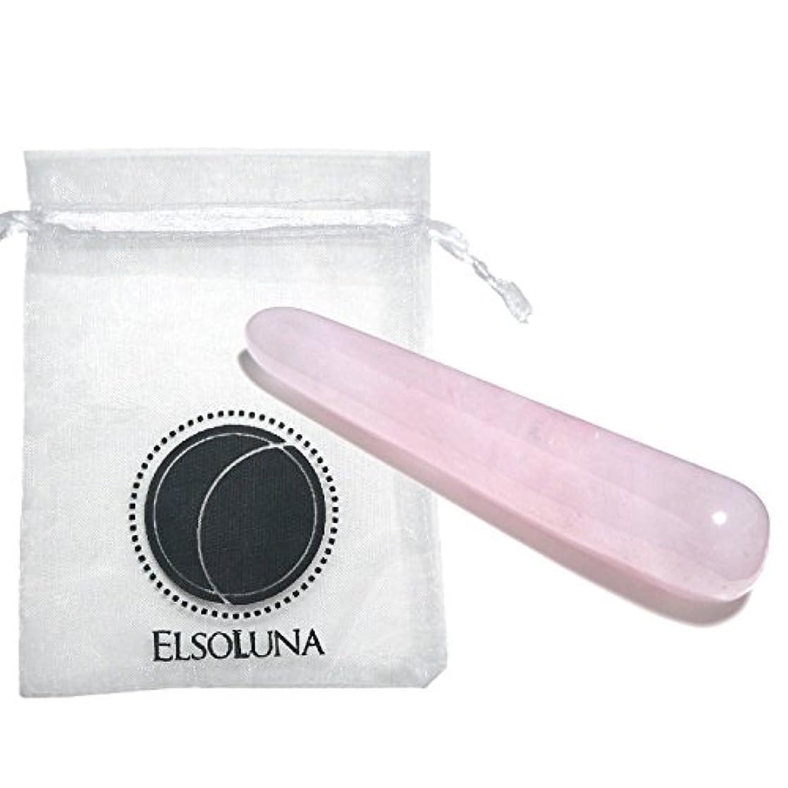 受信機欠如滅びるElsoluna(エルソルーナ) かっさプレート かっさマッサージ 美顔 天然石 パワーストーン (アウトレット ローズクォーツ スティック型, ピンク)