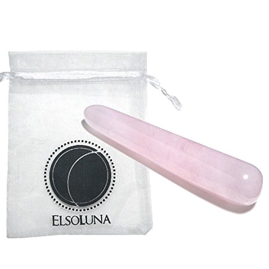 型製造看板Elsoluna(エルソルーナ) かっさプレート かっさマッサージ 美顔 天然石 パワーストーン (アウトレット ローズクォーツ スティック型, ピンク)