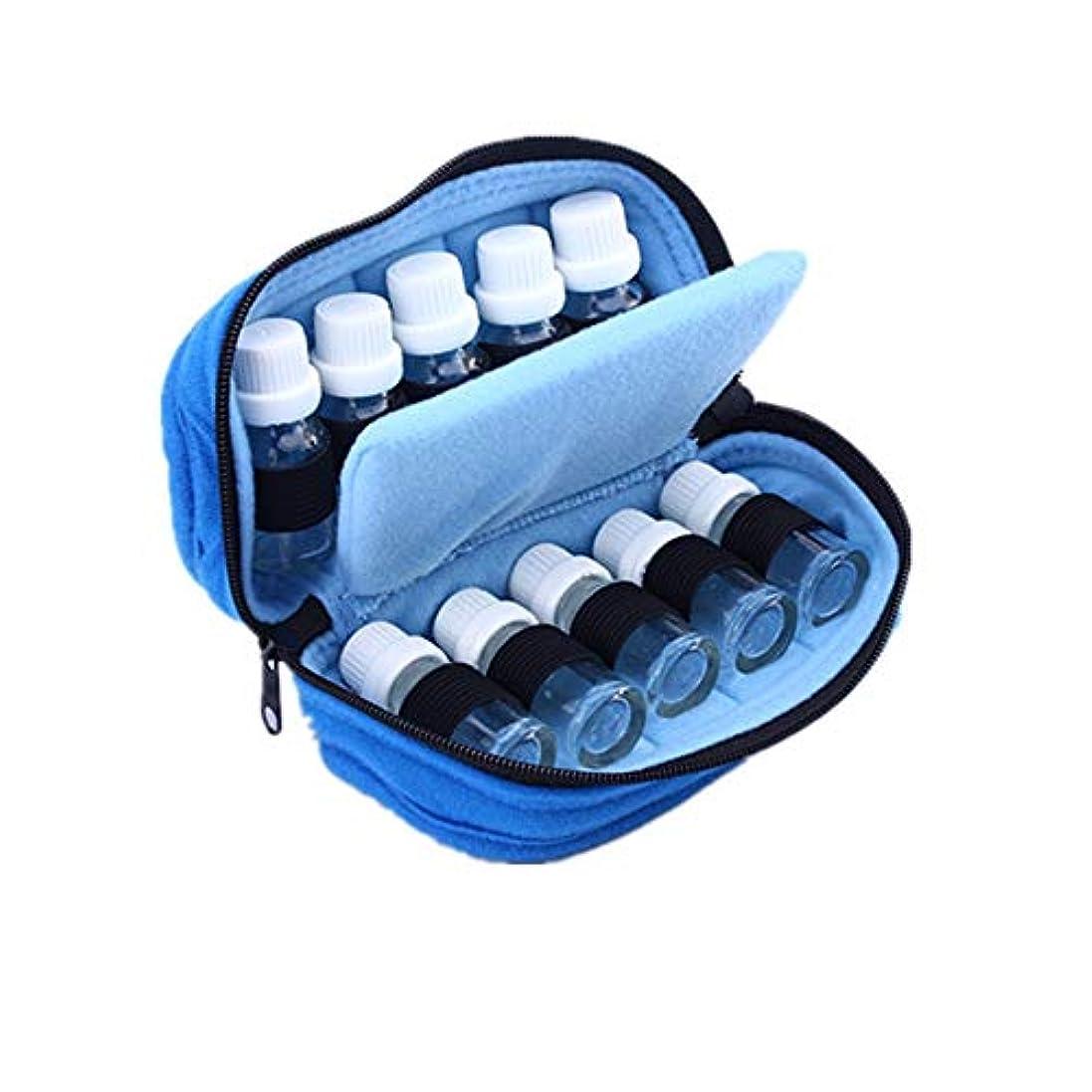 恐れるビザ全体エッセンシャルオイルストレージボックス ケース収納キャリング10ボトルエッセンシャルオイルは、15mlのトラベルオーガナイザーポーチバッグブルーに適合します 旅行およびプレゼンテーション用 (色 : 青, サイズ : 18X10X7.5CM)