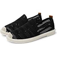 AUCDK Women Slip On Loafers Hollow Mesh Flat Loafers Breathable Casual Flats Lightweight Ladies Espadrilles