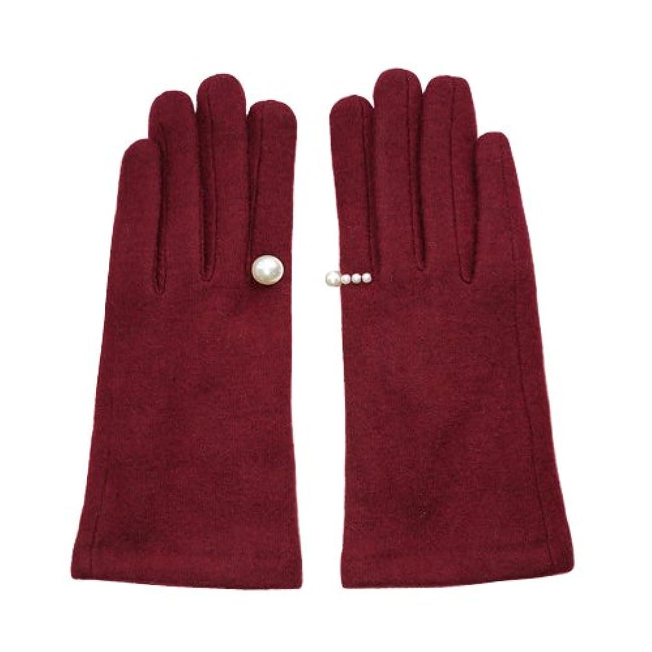 (ファッションファン) FASHION FAN かわいい スマホ 手袋 レディース 正規品 あったかい 裏起毛 パール飾り付 (4、ワイン)