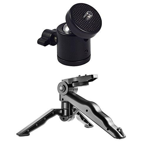 ボールヘッド 360度 回転可能 自由雲台 ダボ 1/4 ネジ 三脚ボール ヘッドブラケット DSLR カメラ対応 パノラマ雲台 ヘッド ビデオ カメラ 三脚 + 卓上三脚 ミニ三脚 カメラグリップにもなる (2)