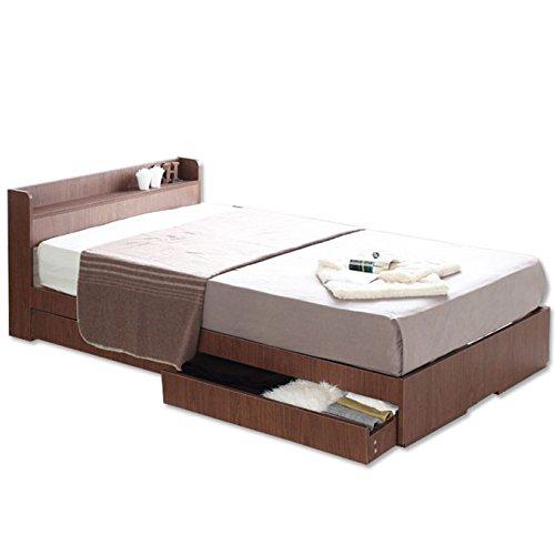 【週末SALE開催中】ビックスリー シングルベット 棚 引き出し収納 ベット シングル 収納付き 木製ベッド シングルサイズ コンセント付き 収納ベット 引き出し付きベッド 商品名:エミー(シングルサイズ・フレームのみ) カラー:ウォールナット色