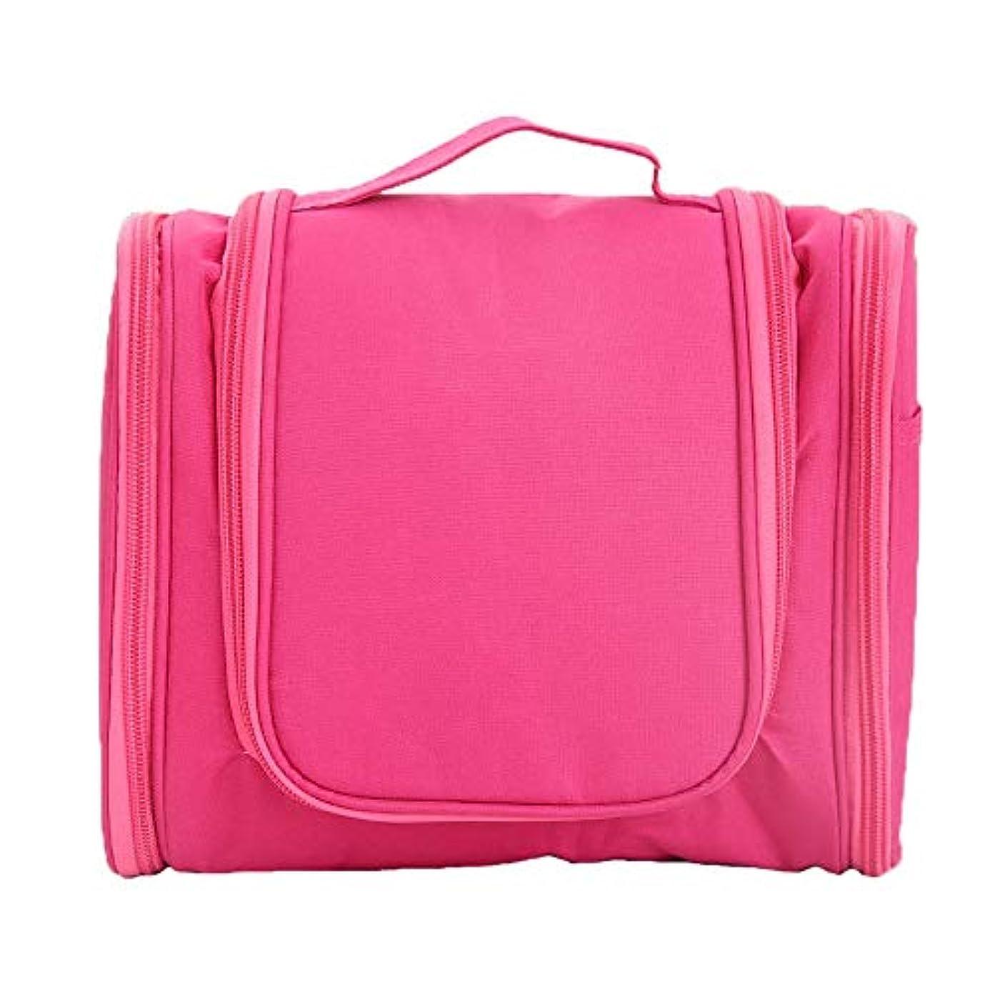 安らぎまどろみのある気付く化粧オーガナイザーバッグ ポータブルジッパー収納バッグ用化粧品化粧ブラシプロの旅行化粧バッグ旅行アクセサリー大容量防水ウォッシュバッグ 化粧品ケース (色 : ピンク, サイズ : 24x10.5x20.5cm)