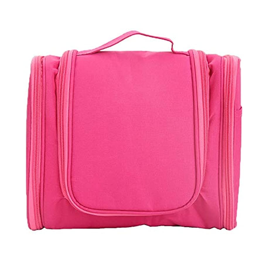 自分のプレゼンター第二に化粧オーガナイザーバッグ ポータブルジッパー収納バッグ用化粧品化粧ブラシプロの旅行化粧バッグ旅行アクセサリー大容量防水ウォッシュバッグ 化粧品ケース (色 : ピンク, サイズ : 24x10.5x20.5cm)