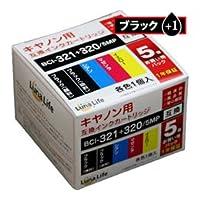 (6個まとめ売り) ワールドビジネスサプライ Luna Life キヤノン用 互換インクカートリッジ BCI-321+320/5MP 320ブラック1本おまけ付き6本セット