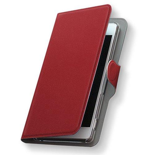 GALAXY S4 SC-04E ケース 手帳型 スマコレ 全機種対応 有り レザー 手帳タイプ 革 フリップ ダイアリー 二つ折り 横開き 革 SC04E ケース スマホケース スマホカバー その他 009021 Samsung サムスン docomo ドコモ シンプル 無地 赤 sc04e-009021-nb