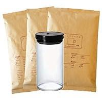 ハリオ コーヒー豆保存容器 HARIO珈琲キャニスターL MCN-300B付き マンデリン 1.5kg 150杯~210杯 [中挽き] コーヒー豆/中深煎り